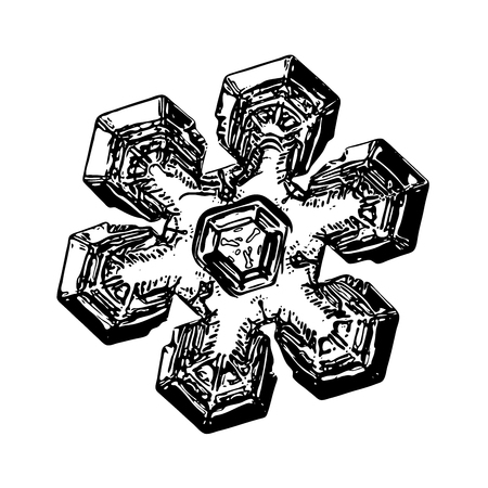 Snowflake on white background. This illustration based on macro photo of real snow crystal: massive star plate with short broad arms, triangular center, fine symmetry and complex inner pattern.