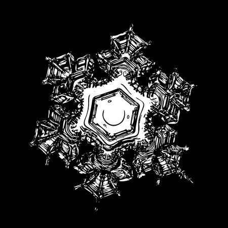 Snowflake on black background. This illustration based on macro photo of real snow crystal: beautiful star plate with fine hexagonal symmetry, six short, broad arms and glossy relief surface.