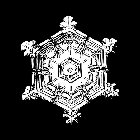 White snowflake on black background. This illustration based on macro photo of real snow crystal: beautiful star plate with hexagonal symmetry, six short broad arms and beautiful inner pattern.
