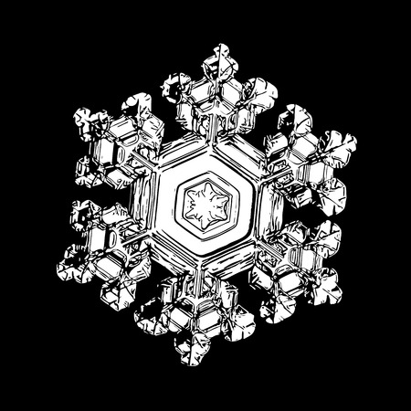 White snowflake on black background. This illustration based on macro photo of real snow crystal: small star plate with six short, broad arms, glossy surface and complex inner structure.