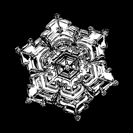 White snowflake on black background. This illustration based on macro photo of real snow crystal: beautiful star plate with fine hexagonal symmetry, six short, broad arms and glossy surface. Stock Photo