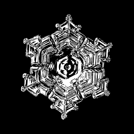 White snowflake on black background. This illustration based on macro photo of real snow crystal: beautiful star plate with fine hexagonal symmetry, six broad arms and massive hexagonal center. Stock Photo