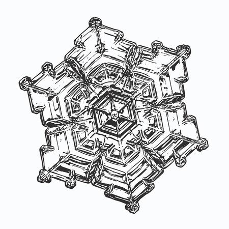 Snowflake on white background.