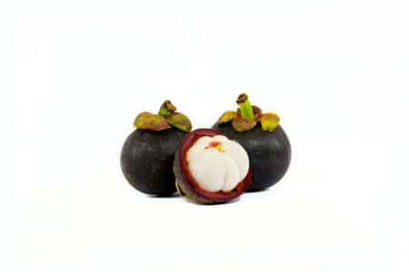 mangosteen fruit on white background Stock Photo