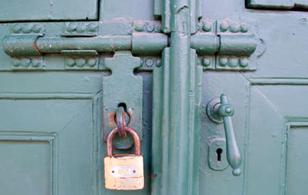 Old Key Lock Green Door Stock Photo