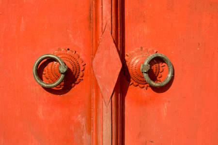 thailand  traditional red door Stock Photo