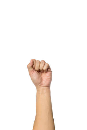 closed fist sign: hand fist symbol  on a white background