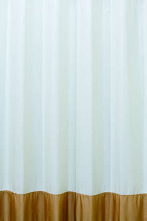 brown and white curtain
