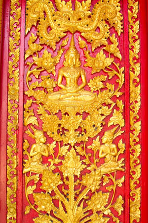 traditional thai style art on temple door
