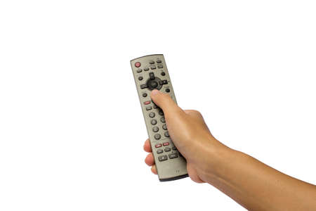 A hand holding a remote control photo