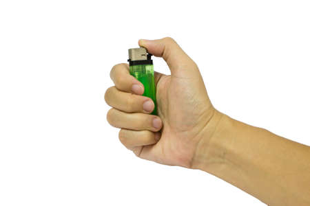 gas lighter: Hand-Holding- a Lighter Stock Photo