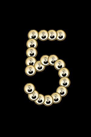 5, number form aluminium can on black