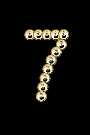 7, number form aluminium can on black  Stock Photo - 15842184