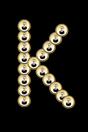 K, Beer aluminum  Can alphabet isolated on black Stock Photo