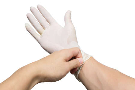 hands with latex gloves on white background Stock Photo