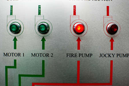 control panel lights: Motor And Fire Alarm Control Stock Photo