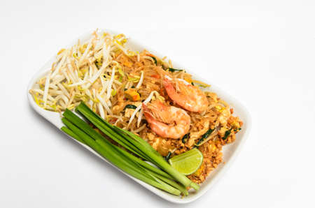 Pad Thai, stir-fried rice noodles, is one of Thailand s national main dish Stock Photo