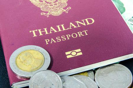 Thailand passport and thai bath