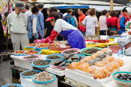 BUSAN, SOUTH KOREA - JUNE 22 Jagalchi Fish Market on May 22, 2014, Busan, South Korea  Fishing is an important industry in Busan  Editorial