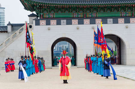 SEOUL, SOUTH KOREA - JUNE 22 Royal guard on June 22, 2014, Seoul, South Korea. Guards in medieval clothes had been protected the Gyeongbok Palace for centuries