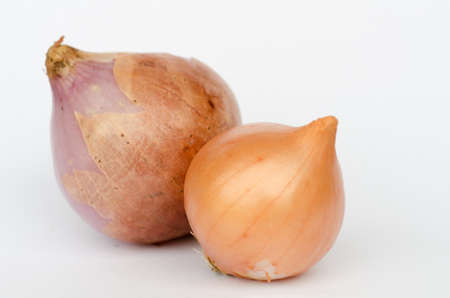 Ripe onions on a white background Stock Photo