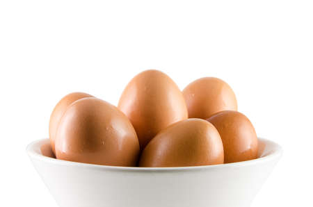 Fresh Eggs in white bowl a healthy food