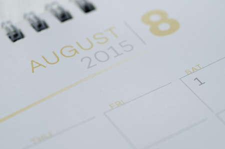 Wall Calendar August Stock Photo