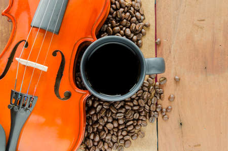 Coffee  beans and violin