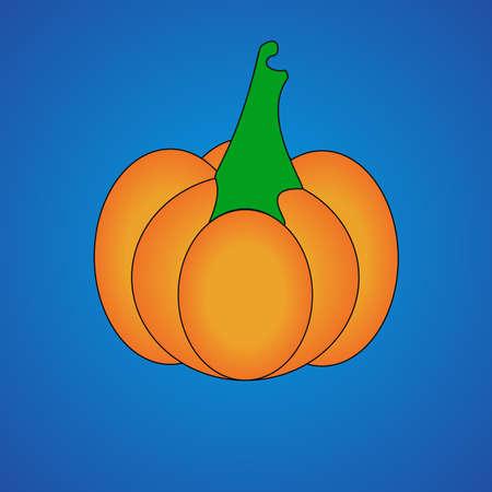 Pumpkin on Blue Background . Flat Design Style. Vector illustration