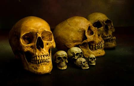 Still life with skulls in dark color tone Halloween
