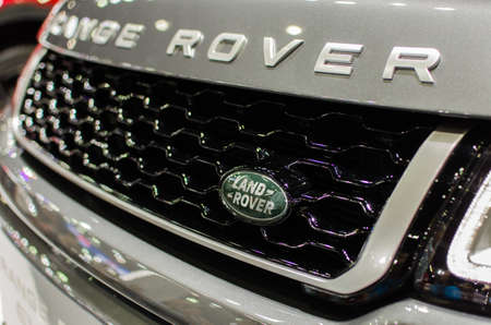 Bangkok, Thailand -  December 12, 2015 : Land Rover Sign Close Up. Founded in 1948 is a brand of the British car manufacturer Jaguar Land Rover, which specializes in four-wheel-drive vehicles.