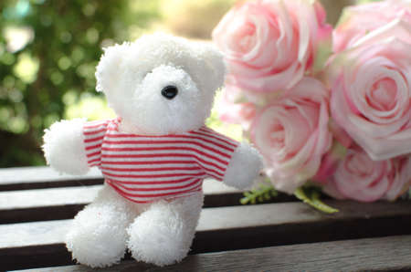 Vintage style photo of  Teddy bear, Teddy bear sitting in front of ross  flowers.