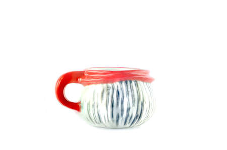 Red and white  cup, isolated on white background