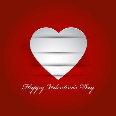 Valentine s applique card background Hanging white heart Illustration