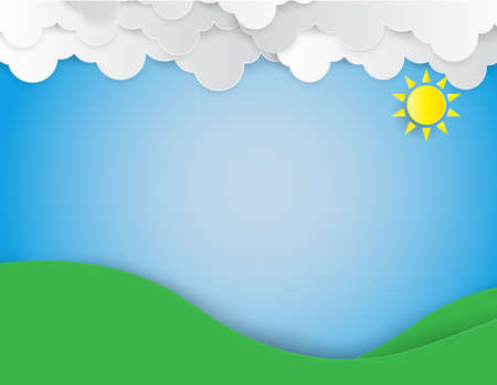 The hill with green grass and trees ,blue sky with sun and cloud,paper art and craft style. Illustration