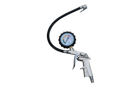 Air compressor gun with manometer isolated on a white background