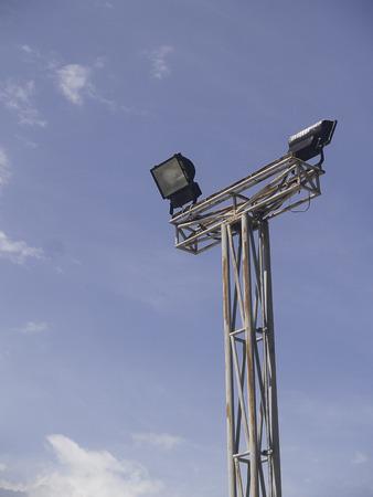 petanque: A Petanque stadium sportlight with blue sky Stock Photo