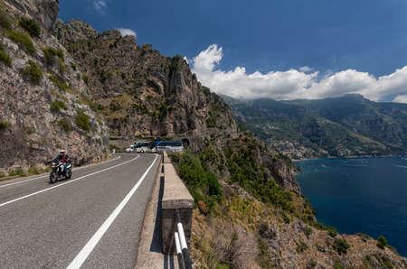 dangerous road: Dangerous road on Amalfi Coast, Italy Stock Photo