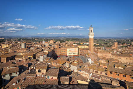siena: Aerial view over Siena, Italy