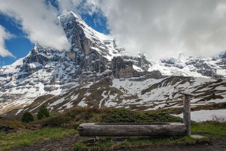 eiger: Famous Eiger, Monch and Jungfrau mountains in the Jungfrau region Stock Photo