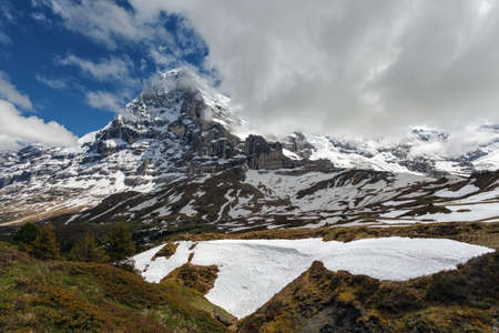 jungfrau: Famous Eiger, Monch and Jungfrau mountains in the Jungfrau region Stock Photo