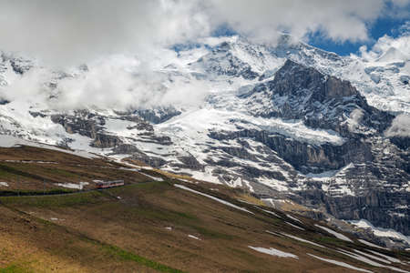 monch: Famous Eiger, Monch and Jungfrau mountains in the Jungfrau region Stock Photo