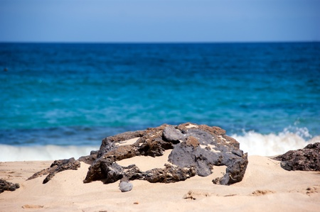 rock detail with ocean in the backgroud, playa mujeres, lanzarote, canary islands Stock Photo