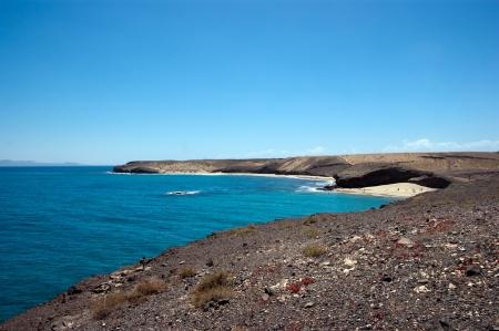 view of claeta del congrio, lanzarote, from playa mujeres