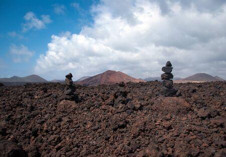 los hervideros: stone pile in los hervideros, lanzarote, canary islands