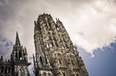 Rouen Cathedral, tour de beurre on a blue sky background Stock Photo