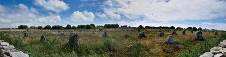 180° panorama of prehistoric menhir alignments in Carnac, Bretagne, France