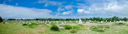 alignments: 180° panorama of prehistoric menhir alignments in Carnac, Bretagne, France Stock Photo