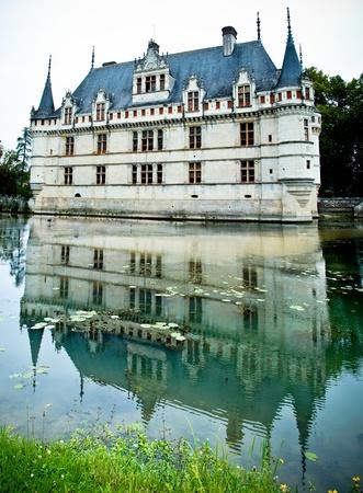 azay le rideau castle reflected in the garden