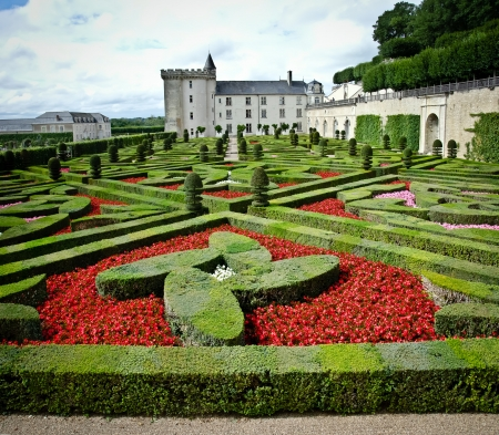gardens and castle in villandry, loire valley, France Stock Photo
